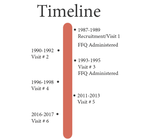 A timeline of when the study started and when data were collected.